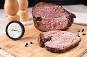 Roasted meat slice and thermometer — Stock Photo