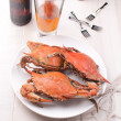 Crabs and beer dinner — Stock Photo
