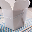 White box with rice from chinese takeout — Stock Photo