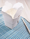 White cooked rice in container — Stock Photo