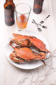 Krabben en bier diner — Stockfoto