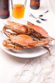 Three cooked crabs and beer — Stock Photo