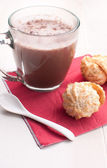 Coconut cookies and hot chocolate — Stock Photo