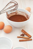 Chocolate batter preparation — Stock Photo