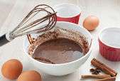 Chocolate syrup or batter cooking — Stock Photo