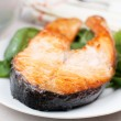 Broiled salmon steak — Stock Photo