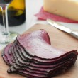 Stock Photo: Thin sliced deli pastrami meat