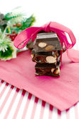 Chunks chocolate christmas gift with copy space — Stock Photo