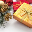 Golden and red presents for winter holidays — Stok fotoğraf