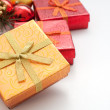 Box for gifts golden and christmas and new year decor — Stock Photo