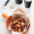 Crackling pork skin beer snack — Stock Photo