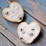 Exotic fruit cherimoya heart shaped — Stock Photo