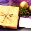 Christmas gift with card for text - Stock Photo