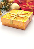 Golden giftbox for christmas and new year — Stock Photo