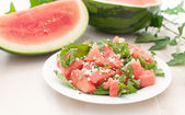 Plate with juicy watermelon salad — Stock Photo