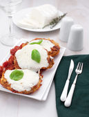 Meat parmigiaana with mozzarella cheese — Stock Photo