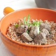 Buckwheat with liver pieces — Stock Photo