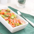 Okra and sausages salad - Stock Photo