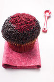 Chocolate red velvet muffin — Stock Photo