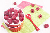 Fresh raspberry with cream or yogurt dessert — Stock Photo