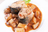 Stewed mackerel fish pieces with potatoes — Stock Photo