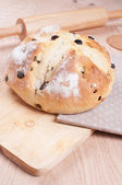 Homemade soda bread on wooden board — Stock Photo