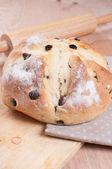 Homemade round bread with raisins — Stock Photo
