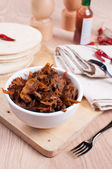 Slow cooked pulled meat pork and tortillas pitas — Stock Photo