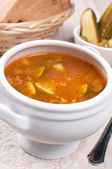Traditional russian soup with pickles — Stock Photo