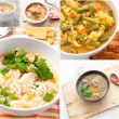 Collage with different meat and vegetables soups - Stock Photo