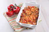 Cheese bakes vegetables and poultry casserole — Stock Photo