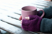 Cup of cocoa outdoors in winter — Stock Photo