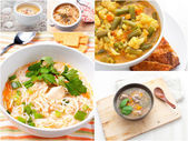Collage with different meat and vegetables soups — Stock Photo