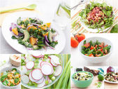 Spring and summer salads collage — Stock Photo