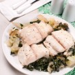 Flounder fillet on bok choy cabbage — Stock Photo