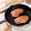 Frying pwith cooking duck breast — Stock Photo #23337042