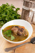 Beef tail soup with parsley and barley — Stock Photo