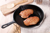 Frying pan with cooking duck breast — Stock Photo