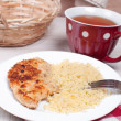 Chicken cutlets with breadcrumbs and cheese - Stock Photo