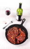 Chicken leg with wine and mushrooms — Stock Photo
