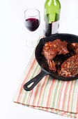 Chicken with wine sauce isolated — Stock Photo