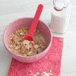 Oats with milk and almonds — Stock Photo