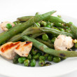Stir fry chicken with green peas and beans — Stock Photo