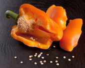 Broken orange bell pepper — Stock Photo