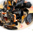 Mussels cooked with vegetables — Stock Photo