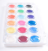 Set of watercolor paints in white box — Stock Photo