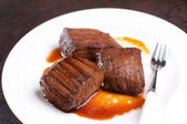 Pieces of beef flank steak — Stock Photo