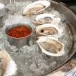 Raw oysters with sauces — Stock Photo