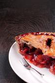 Rhubarb and strawberry cut pie — Stock Photo