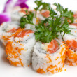 Closeup california salmon sushi rolls — Stock Photo
